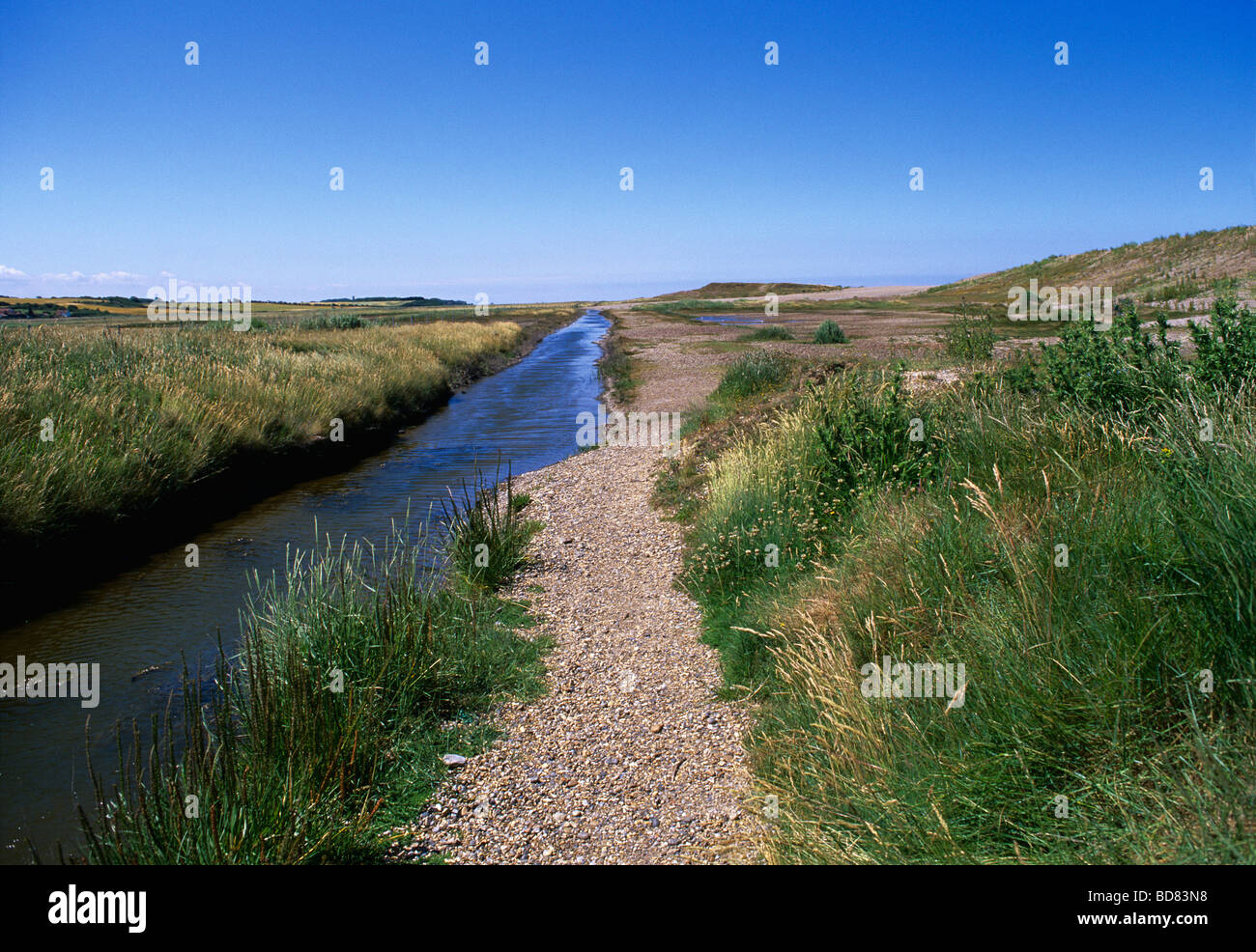 Salthouse marshes with drainage ditches protected from the North Sea by high shingle banks which are constantly - Stock Image