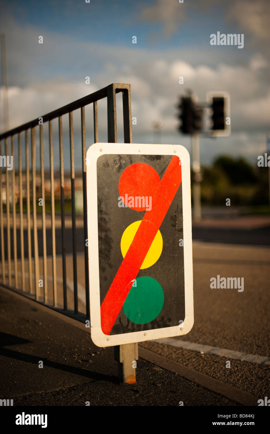 Out of order traffic lights at pedestrian road crossing - Stock Image