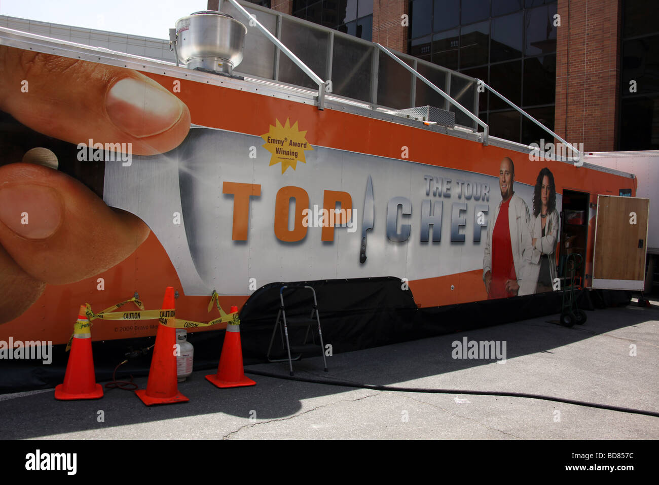 Bravo Top Chef Tour Van parked at the White Plains, New York, Farmers Market - Stock Image