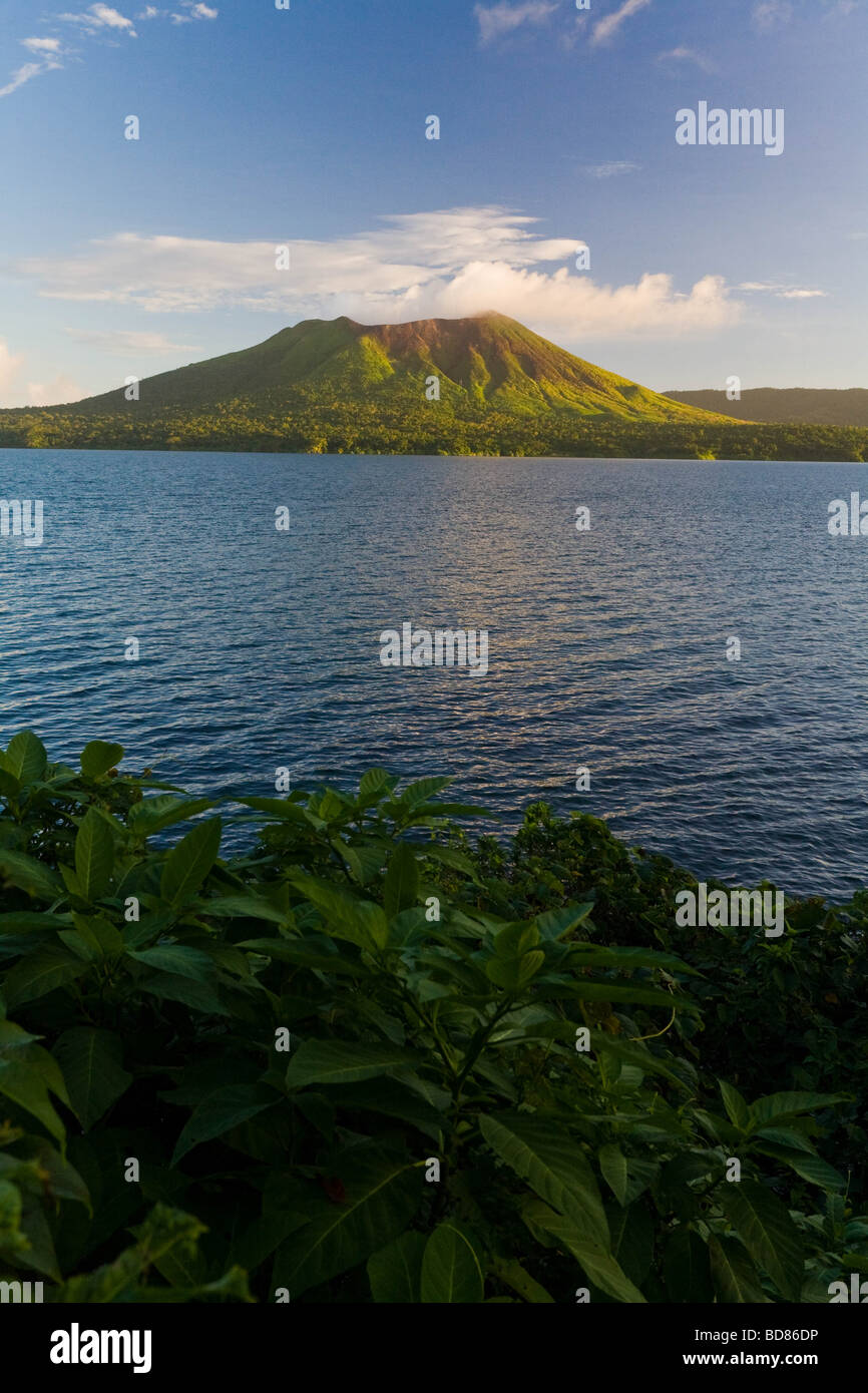 View of Mount Garet over Lake Letas Gaua Island Vanuatu - Stock Image