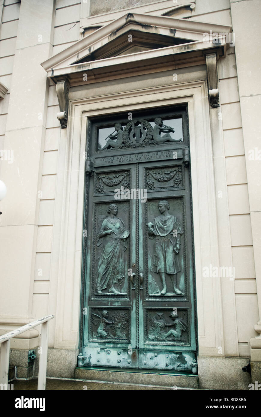 The bronze entrance doors to the American Academy of Arts and