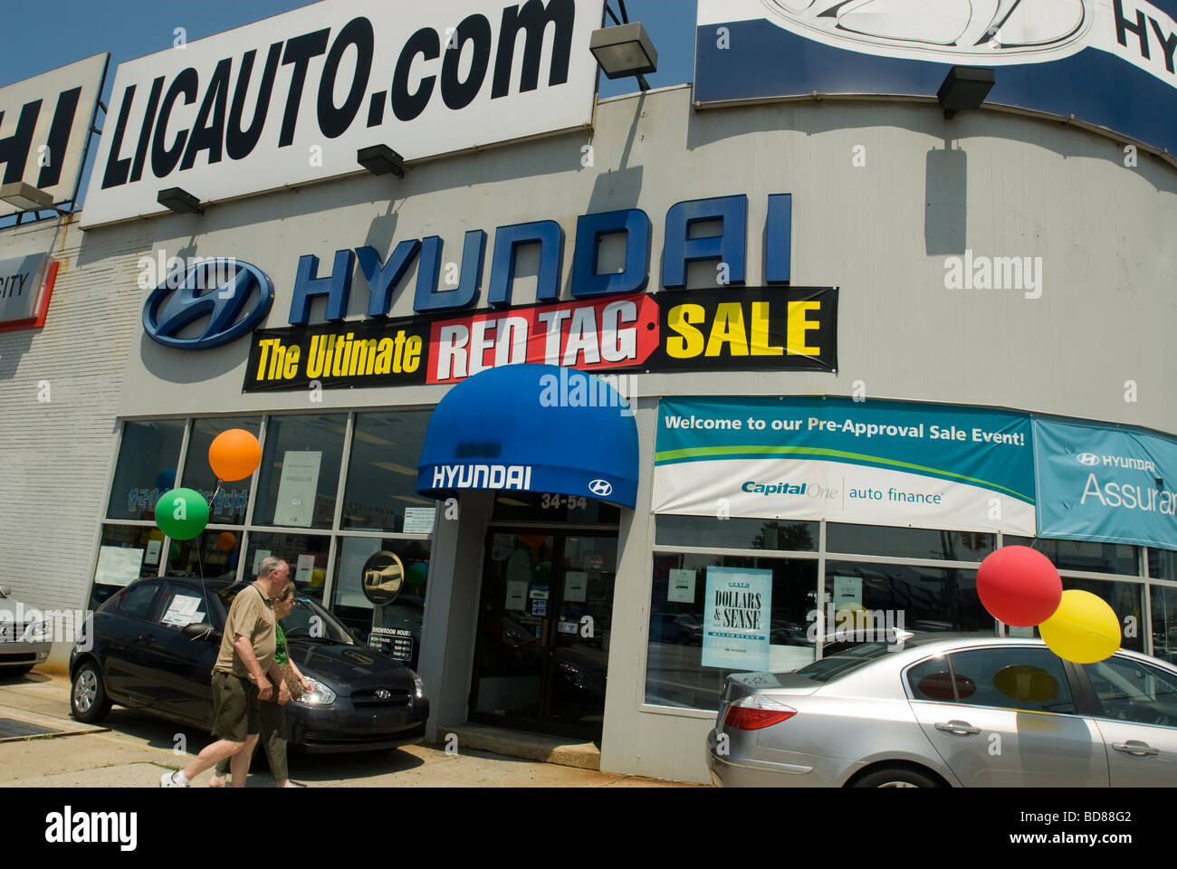 Hyundai automobiles are offered for sale at car dealerships on Northern Boulevard in the borough of Queens in New - Stock Image