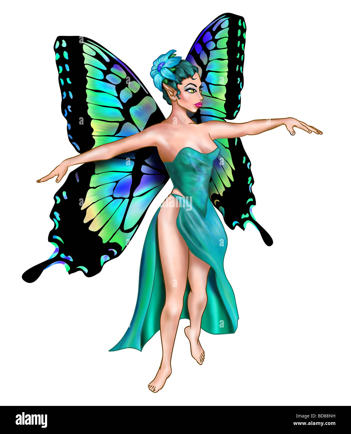 Isolated illustration of a turquoise fairy dancer - Stock Image