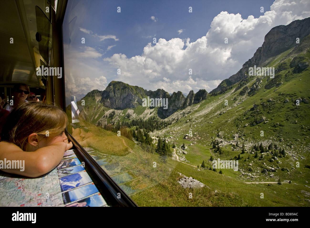 Train by Rochers de Naye Montreaux Switzerland - Stock Image