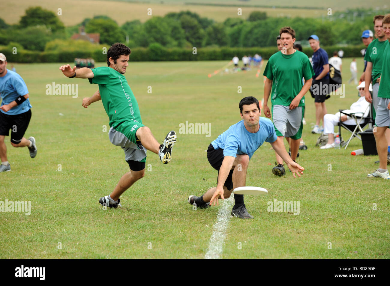 Teams taking part in the Frisbee world championships held in Brighton - Stock Image