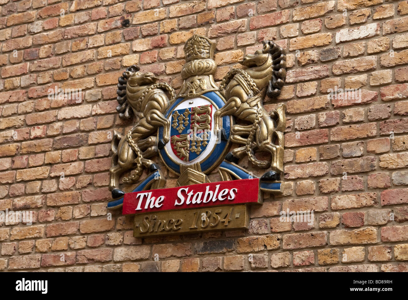 Coat of arms in the newly refurbished part of the Stables Market, Camden - Stock Image