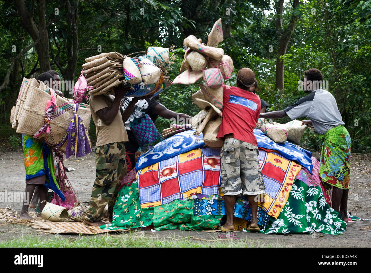 A pile of gifts for the villagers at a kastom wedding on Tanna Vanuatu - Stock Image