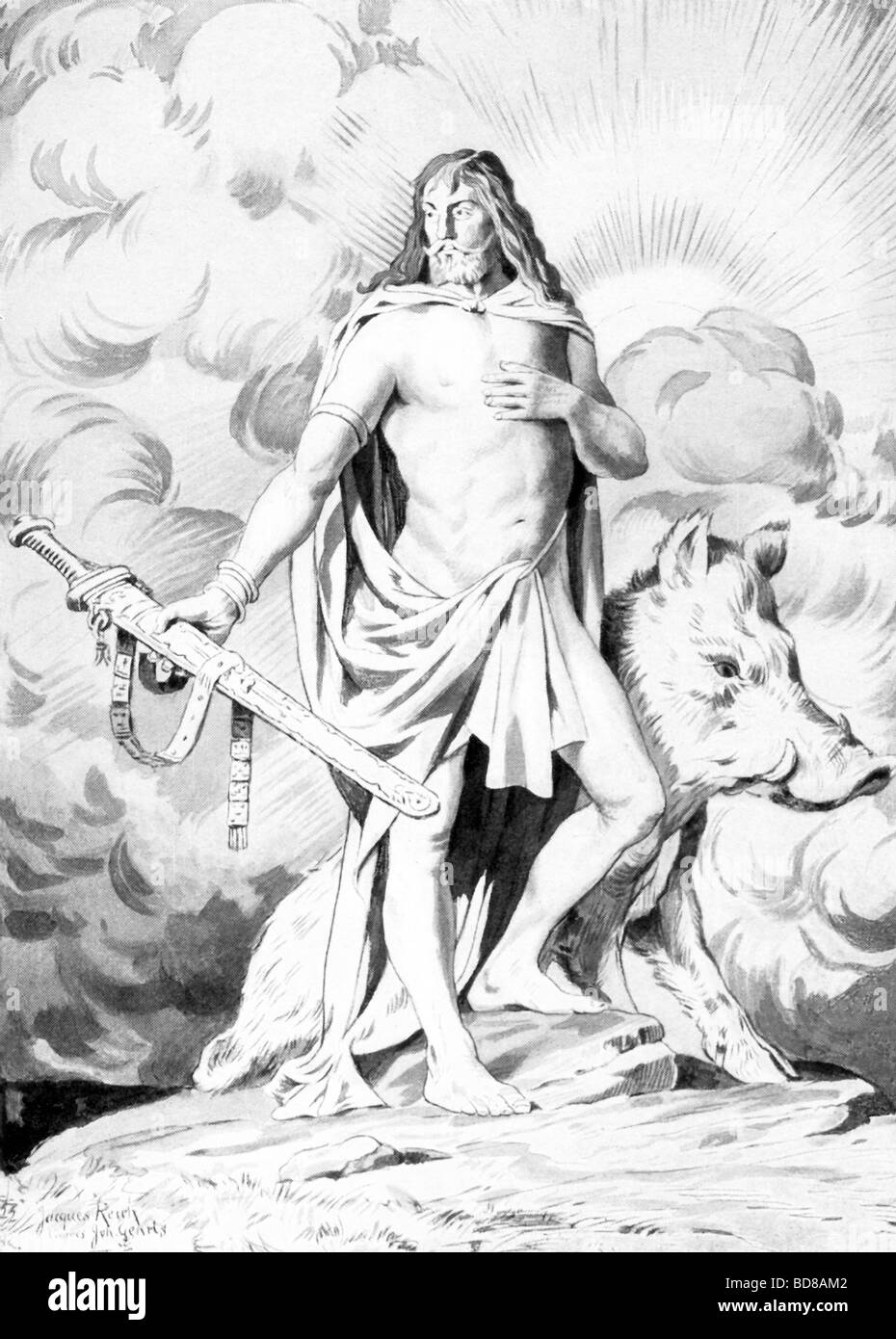The Norse Freyr (also spelled Freye) was the brother of Freyja and associated with agriculture, the weather, and - Stock Image