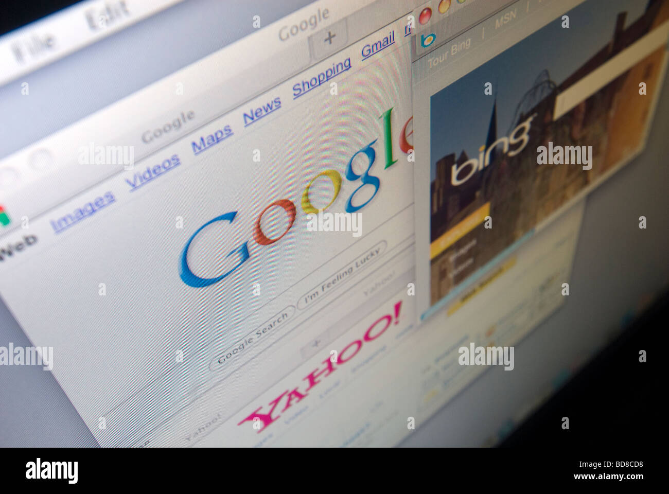 Microsoft s Bing and Google search engines are seen on a computer screen - Stock Image