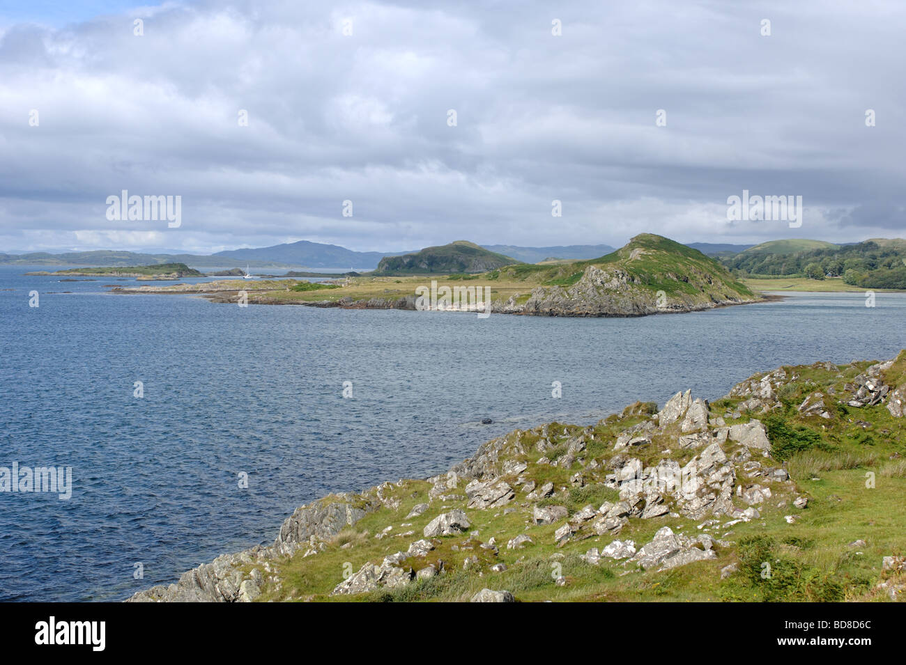 View from Craignish Point looking north towards Luing Island and the Sound of Luing on the west coast of Scotland - Stock Image