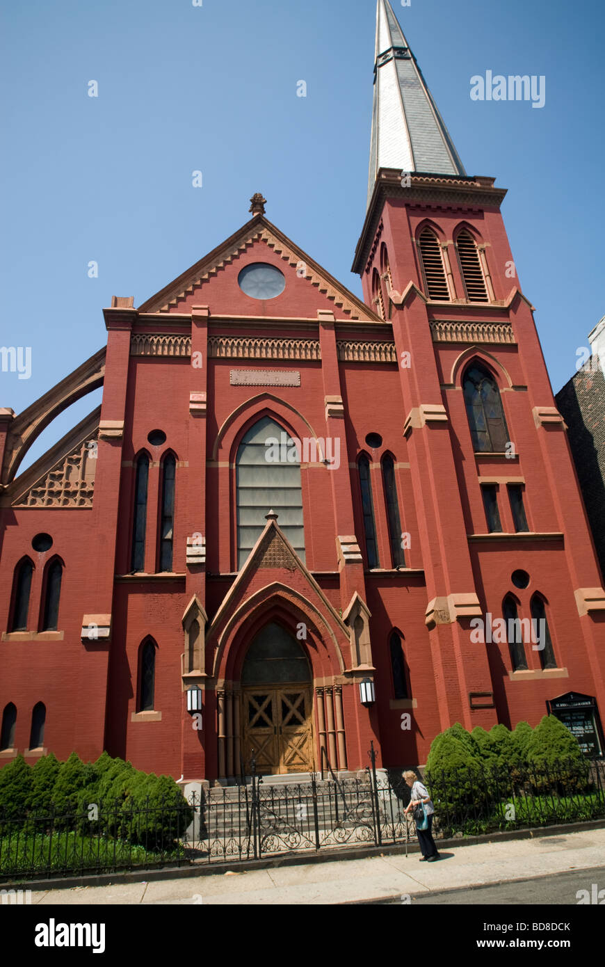 St John s Evangelical Lutheran Church in the Greenpoint Brooklyn historic district In New York - Stock Image