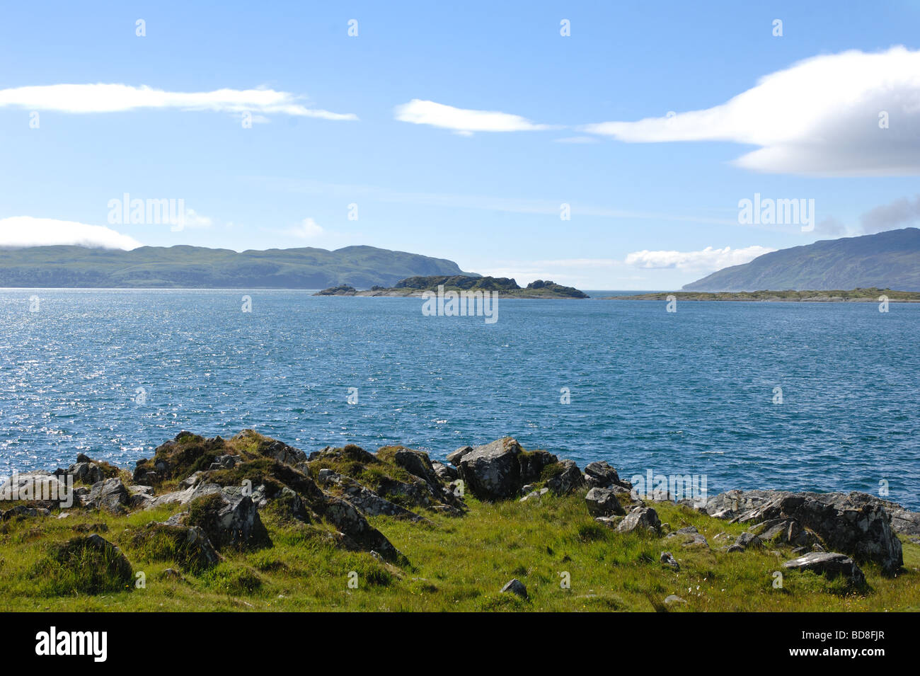View from Craignish Point looking west towards Gulf of Corryvreckan on the west coast of Scotland - Stock Image
