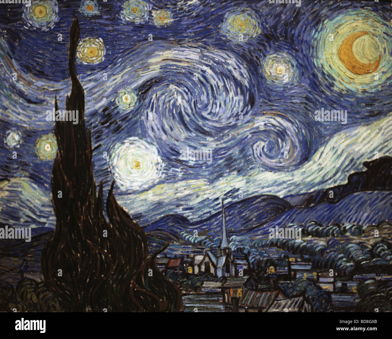 "fine arts, Gogh, Vincent van, (1853 - 1890), painting, ""The Starry Night"", oil on canvas, 73 x 92 cm, 1889, National Stock Photo"