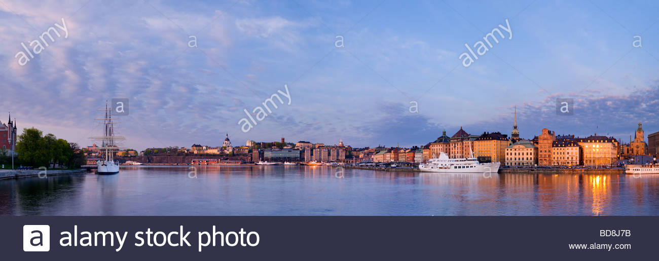 Panoramic view of the schooner Af Chapman, and the old town of Stockholm, Sweden. Stock Photo