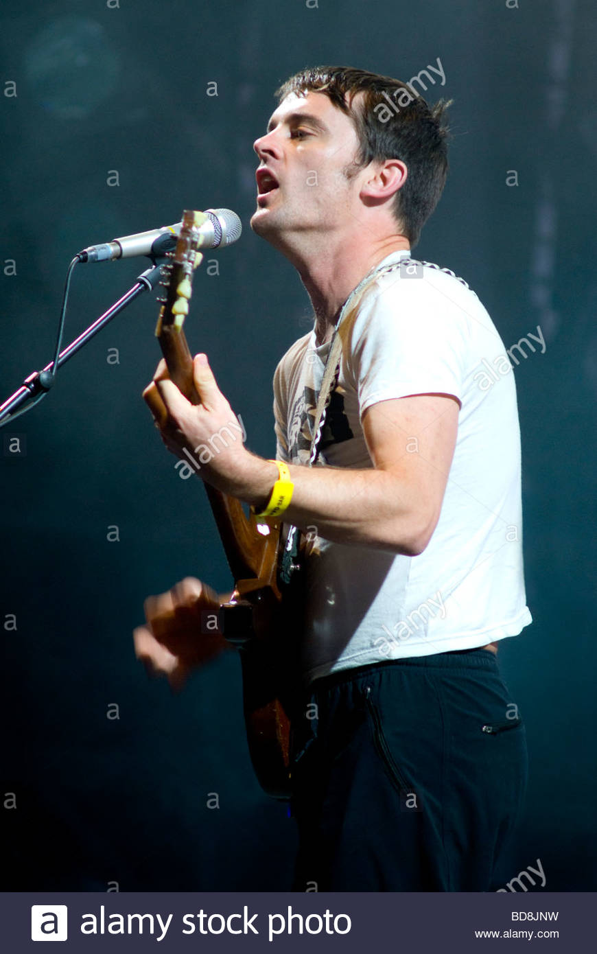 Nick McCarthy of rock band Franz Ferdinand performing live - Stock Image