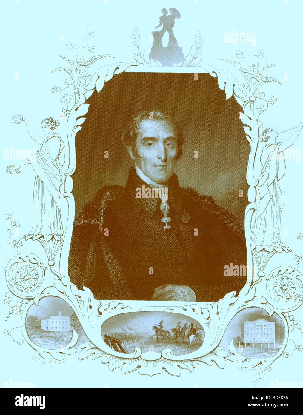 Duke of Wellington Payne s Universum 1847 - Stock Image
