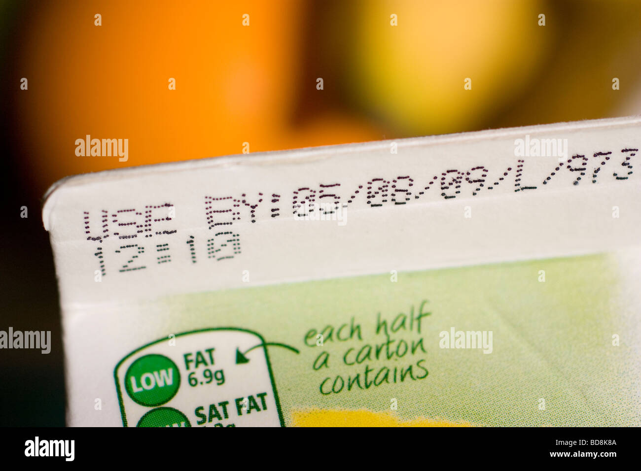 sell by date display until date on supermarket food items - Stock Image