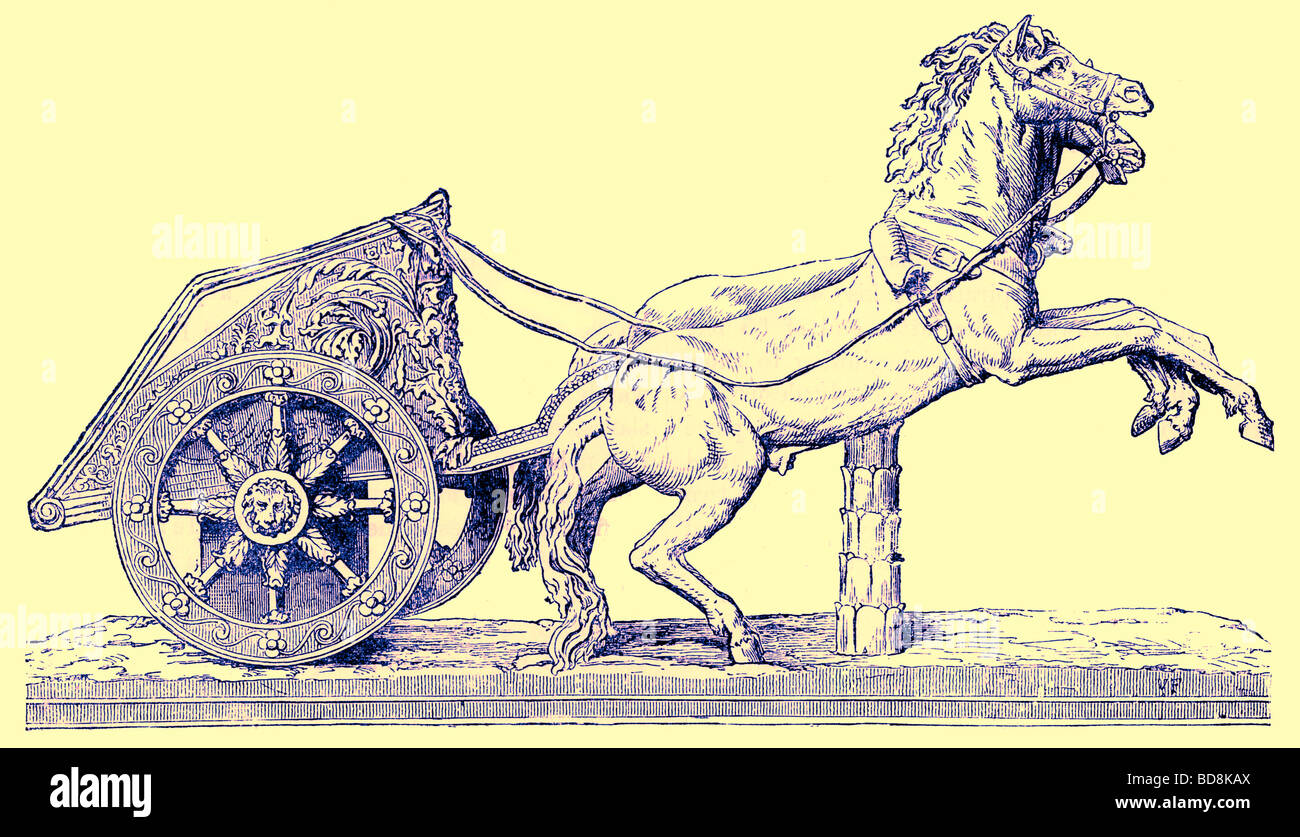 Roman racing chariot Illustration from Cassell s Illustrated Universal History by Edward Ollier 1890 - Stock Image