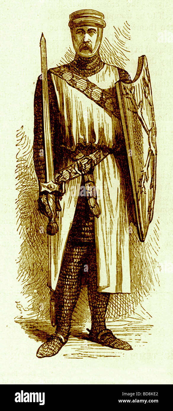 A Knight Templar Illustration from Old and New London by Edward Walford Cassell c 1880 - Stock Image