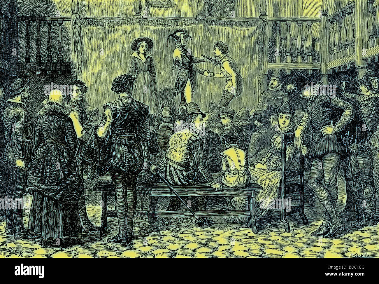 Play taking place in the yard of an inn - Stock Image