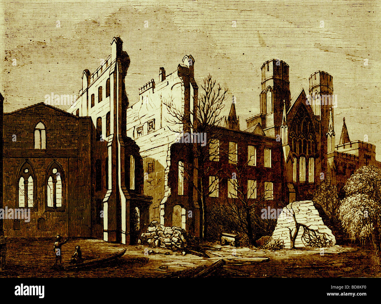 The Houses of Parliament after the fire in 1834 Illustration from Old and New London by Edward Walford Cassell c - Stock Image
