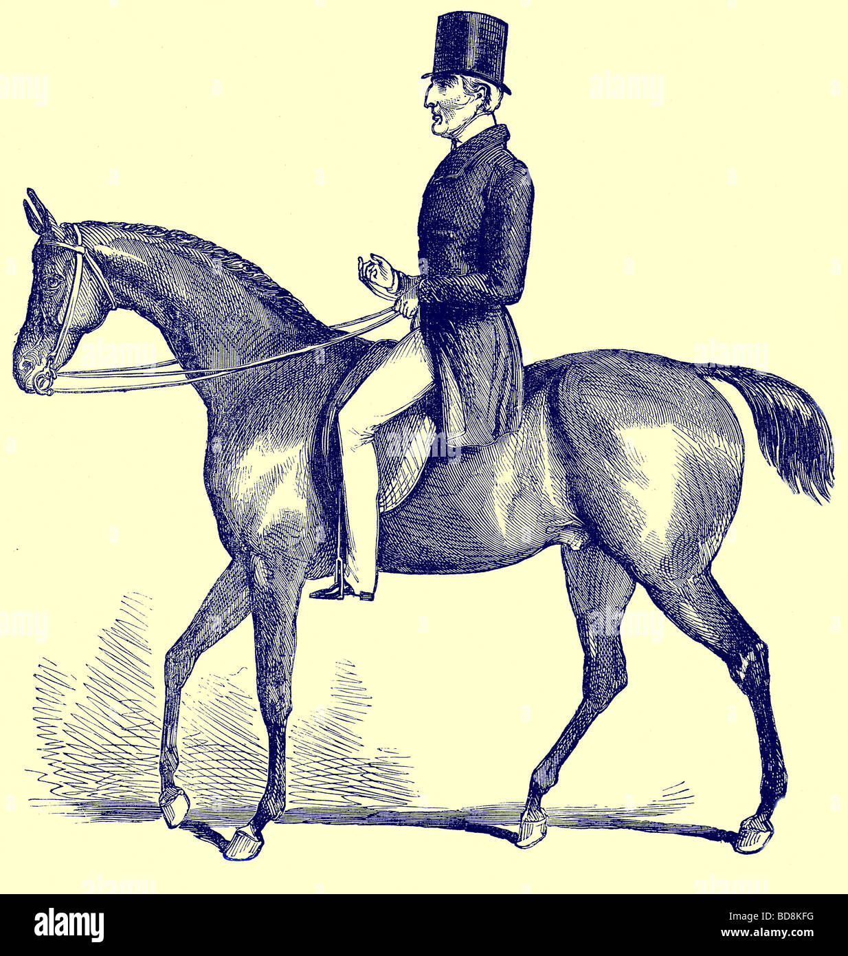 The Duke of Wellington in 1842 Illustration from Old and New London by Edward Walford Cassell c 1880 - Stock Image