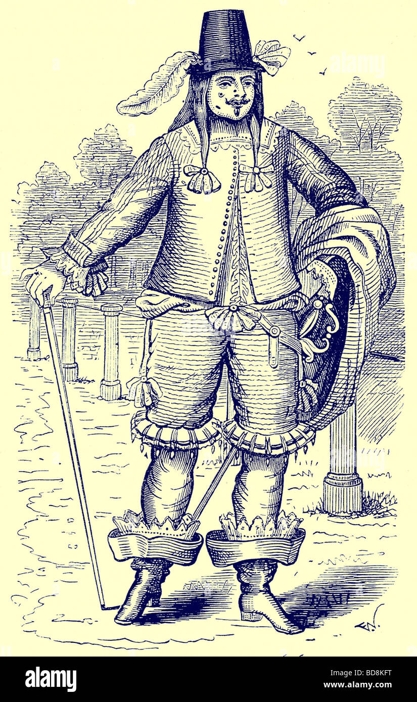 A London Dandy of 1646 Illustration from Old and New London by Edward Walford Cassell c 1880 - Stock Image