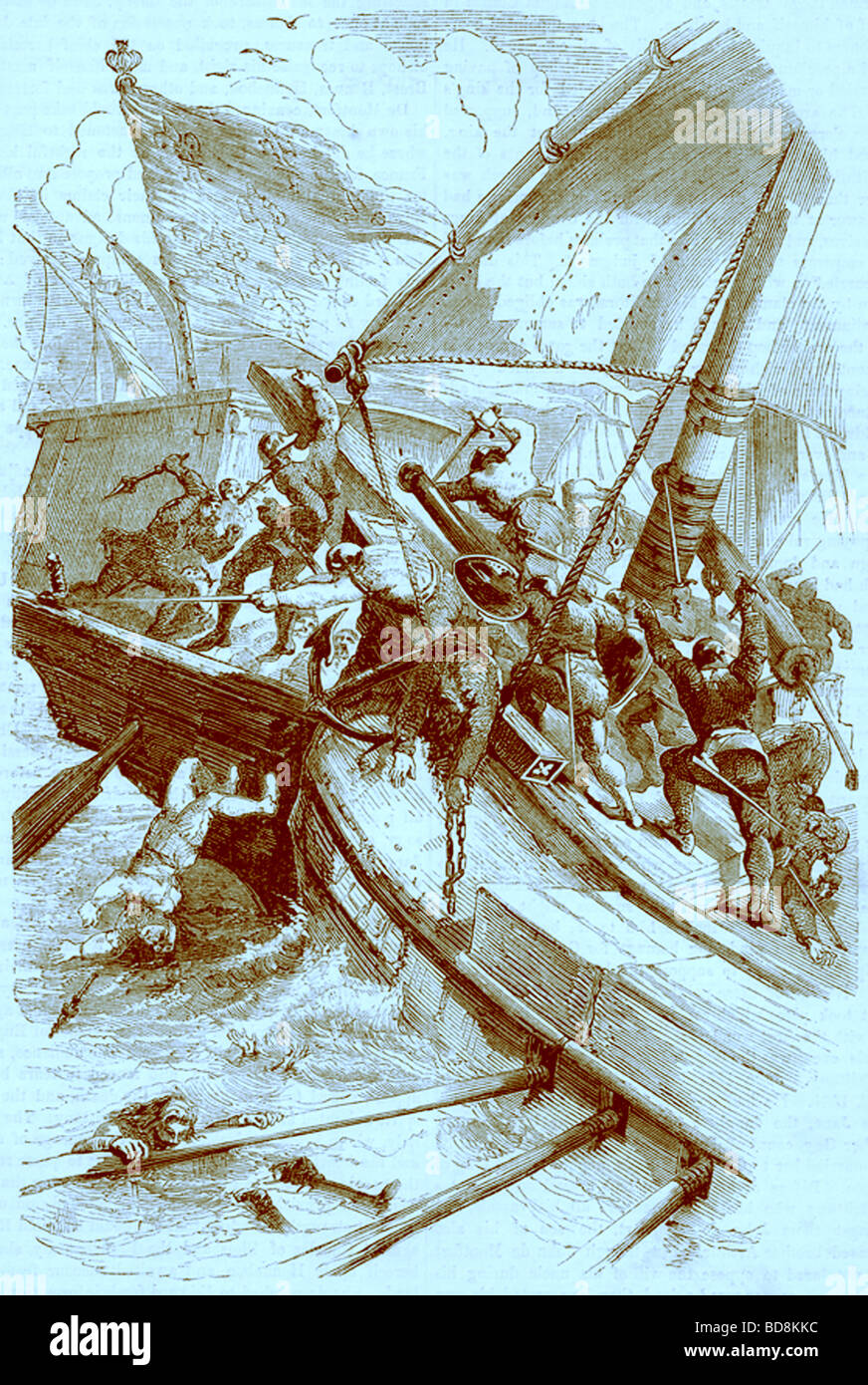 The Battle of Sluys Illustration from John Cassell s Illustrated History of England W Kent 1857 1858 - Stock Image