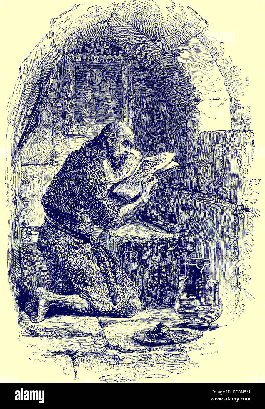 An Ascetic in his Cell Illustration from The Illustrated History of the World Ward Lock c 1880 - Stock Image