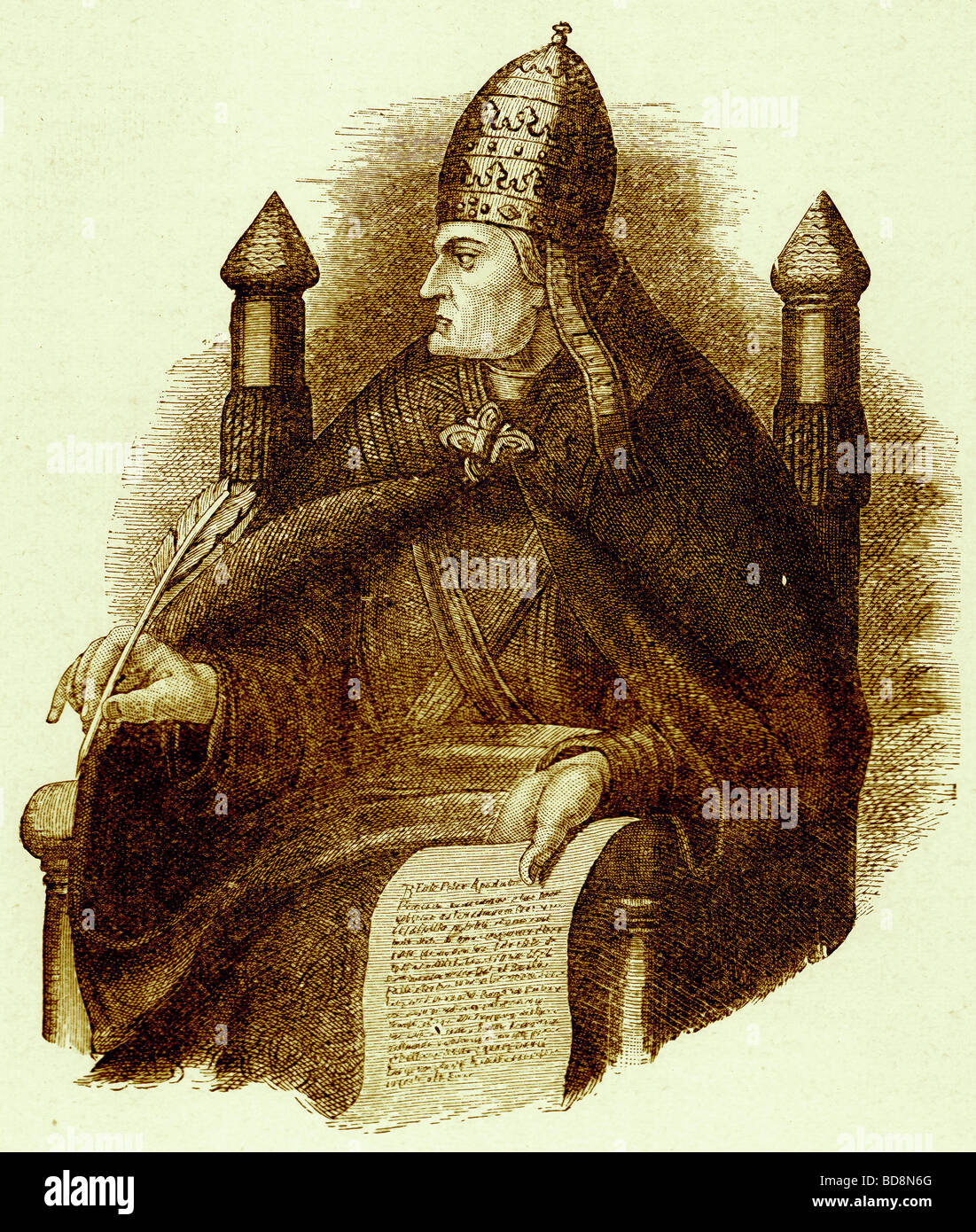 Gregory VII Illustration from The Illustrated History of the World Ward Lock c 1880 - Stock Image