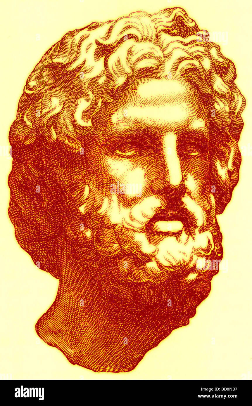 Head of Zeus Illustration from History of Greece by Victor Duruy Boston 1890 - Stock Image