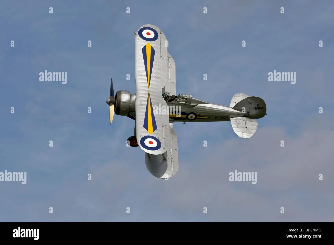 An RAF Gloster Gladiator biplane fighter - Stock Image
