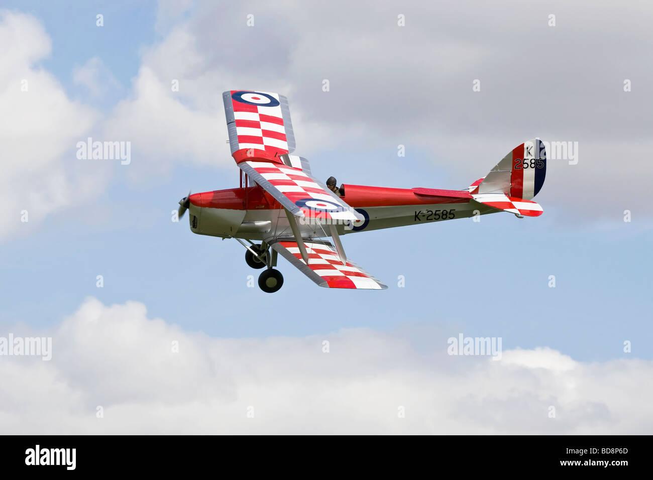 An RAF De Havilland DH82 Tiger Moth biplane trainer - Stock Image