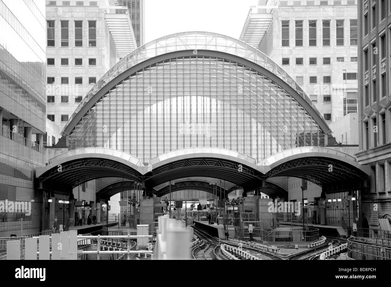 Canary Wharf Station on the Docklands Light Railway - Stock Image