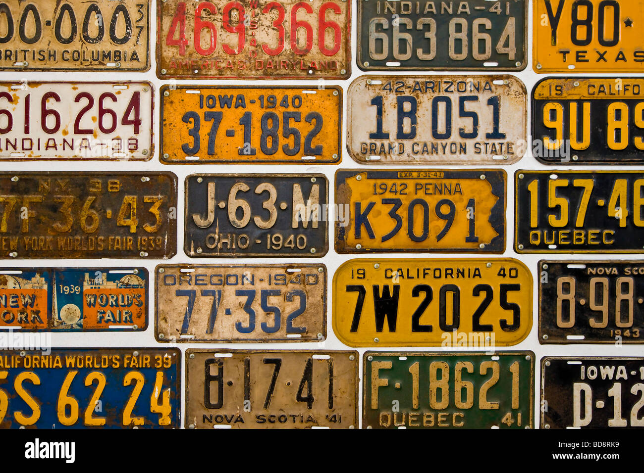 Old American number plates - Stock Image
