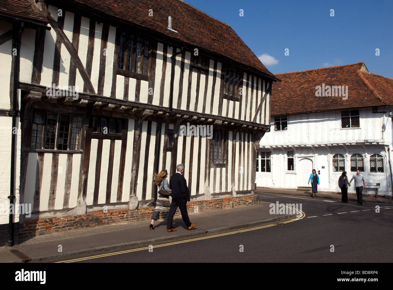 Half-timbered medieval houses, Lavenham, Suffolk, UK. - Stock Image