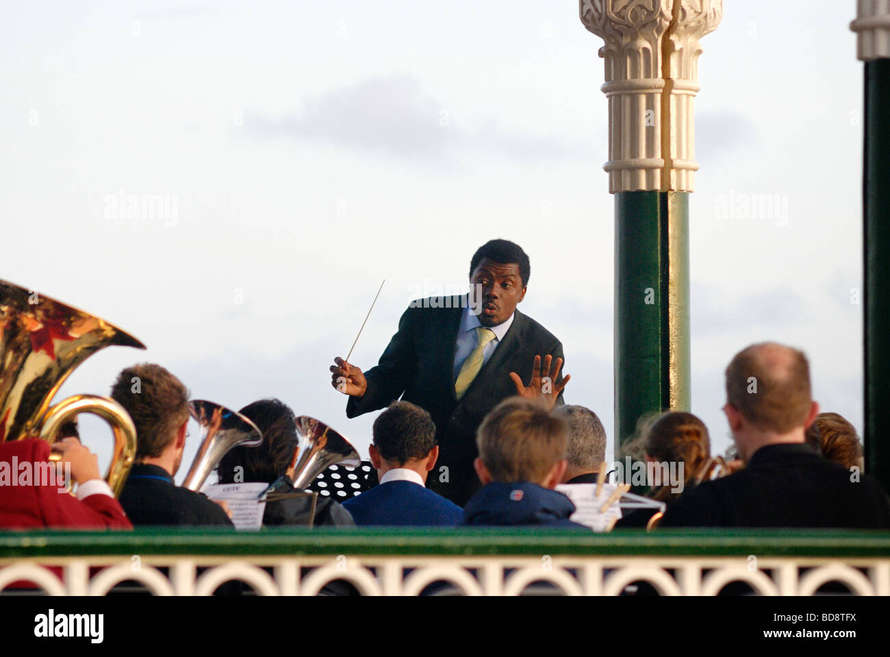 A band plays on the opening night on the restored Brighton Bandstand - Stock Image