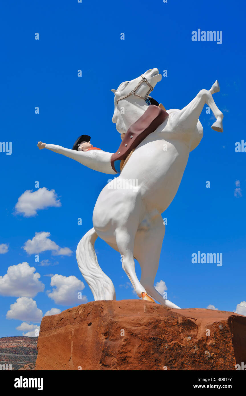 Cowboy Statue outside the Film Studios at Kanab in Utah, United States of America - Stock Image