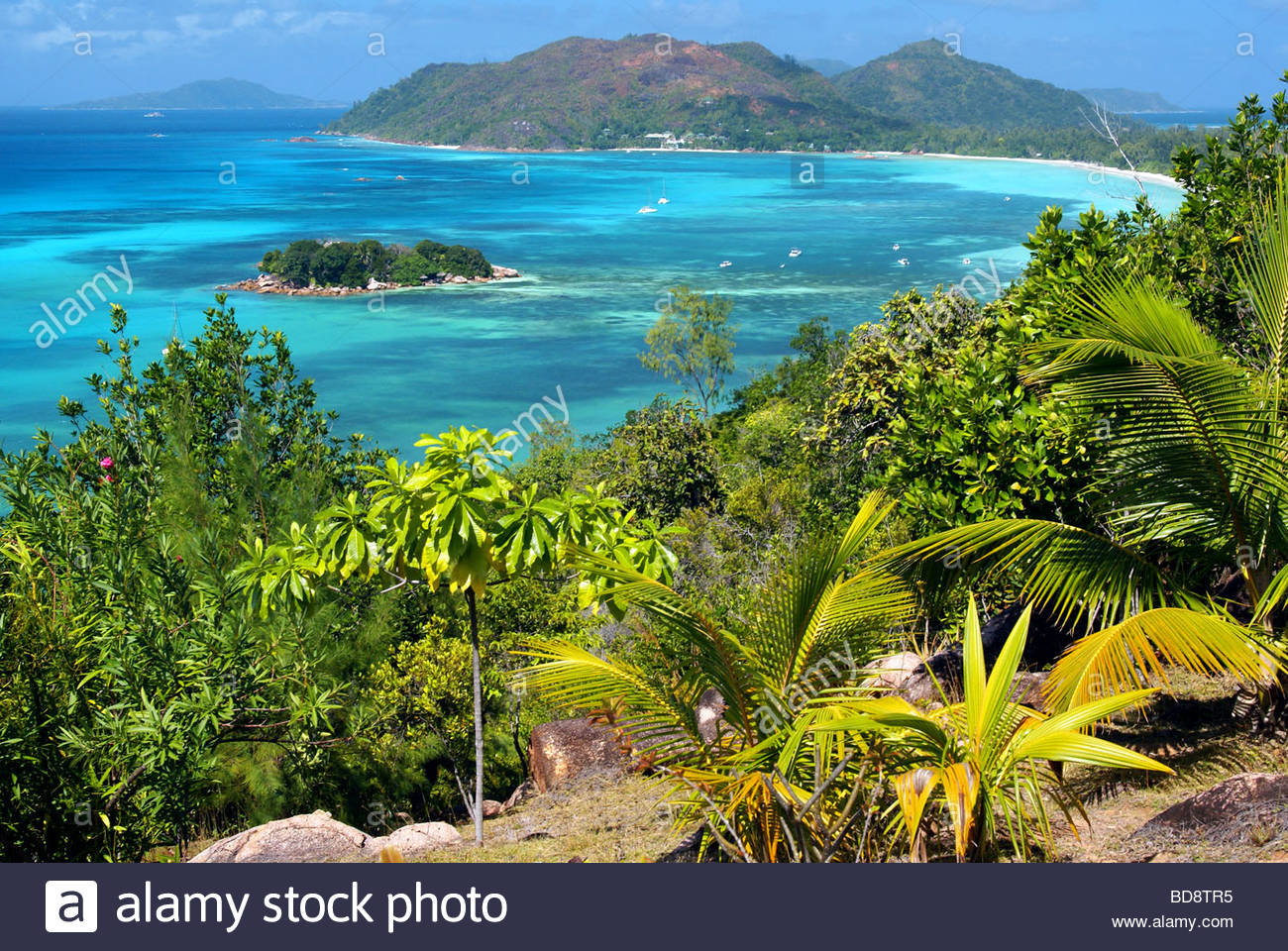 View over Anse Volbert and Chauve-Souris Island - Praslin - Seychelles Stock Photo
