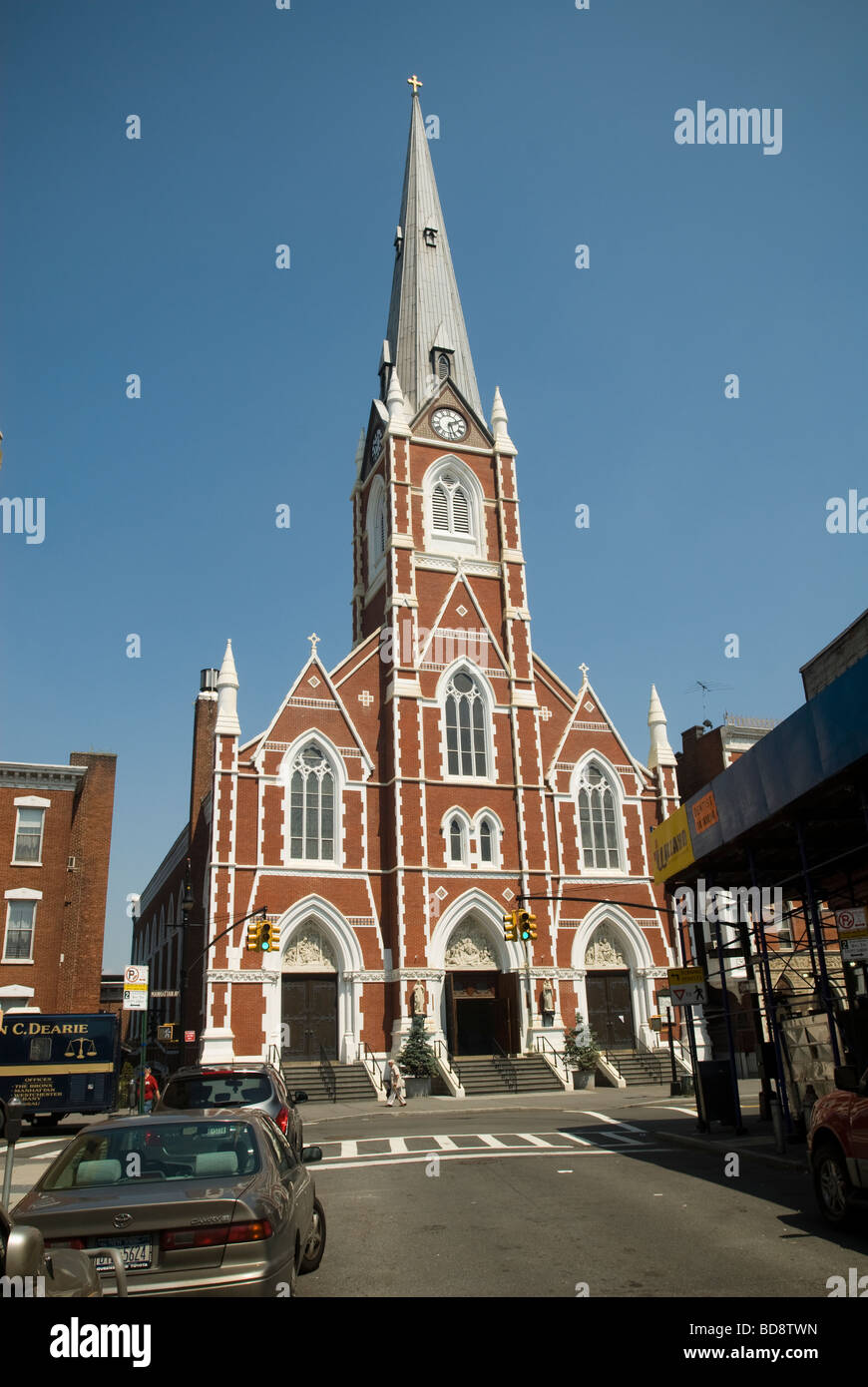 Saints Anthony and Alphonsus Roman Catholic Church on Manhattan Avenue in Greenpoint Brooklyn in New York - Stock Image
