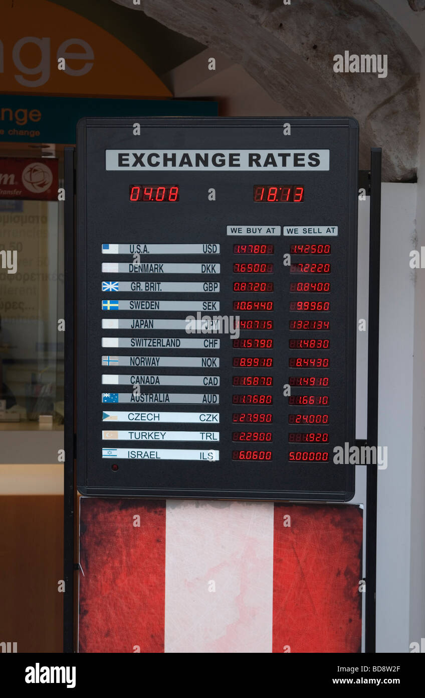 Euro currency exchange rates displayed on a board - Stock Image