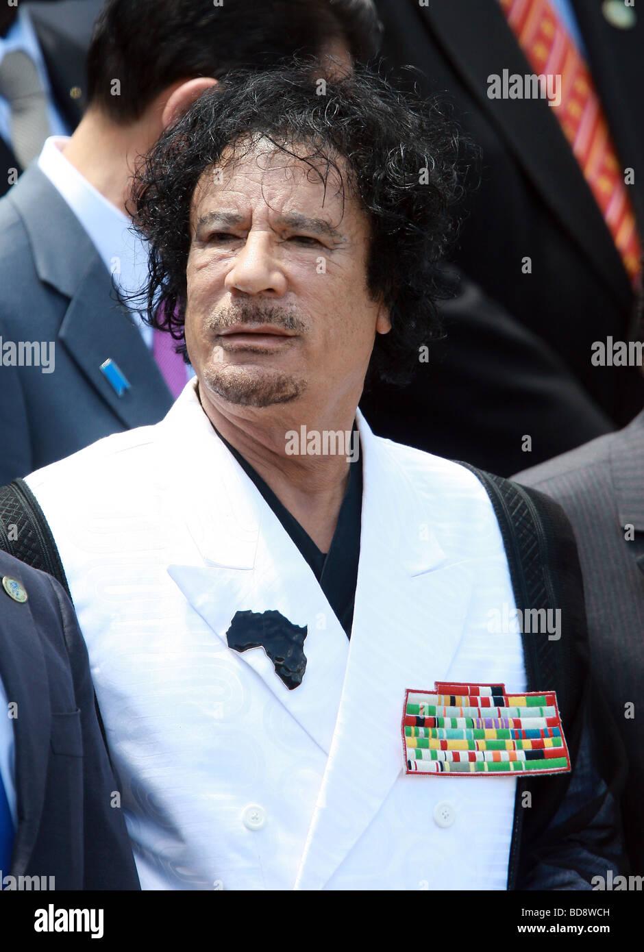 MUAMMAR GADDAFI LIBYAN LEADER 10 July 2009 THE GUARDIA DI FINANZA SCHOOL  L'AQUILA ABRUZZO ITALY - Stock Image