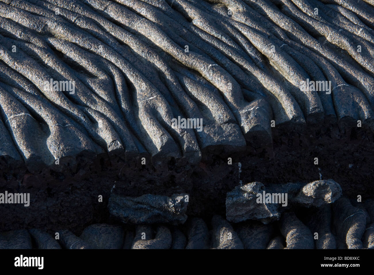 Fissured pahoehoe lava Sulivan Bay Santiago Galapagos Islands Ecuador Pacific Ocean May - Stock Image