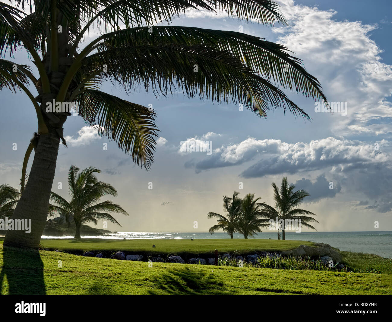 Tropical storm clouds build, bringing rain to Montego Bay - Stock Image
