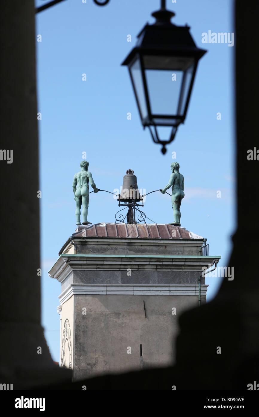 The clock tower of Piazza della Libertà, Udine, Friuli Venezia Giulia, Italy - Stock Image