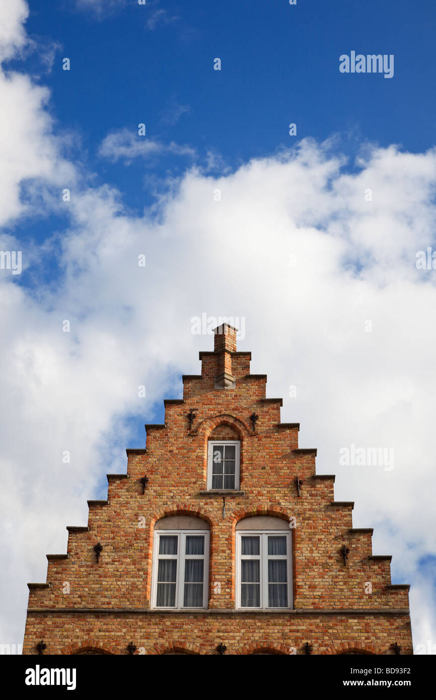 Traditional old Belgian house detail of stepped gable and windows in Belgium, Europe - Stock Image