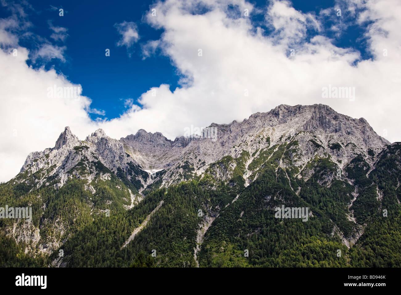 Viererspitze and the Karwendel mountain range Bavaria Germany Europe - Stock Image