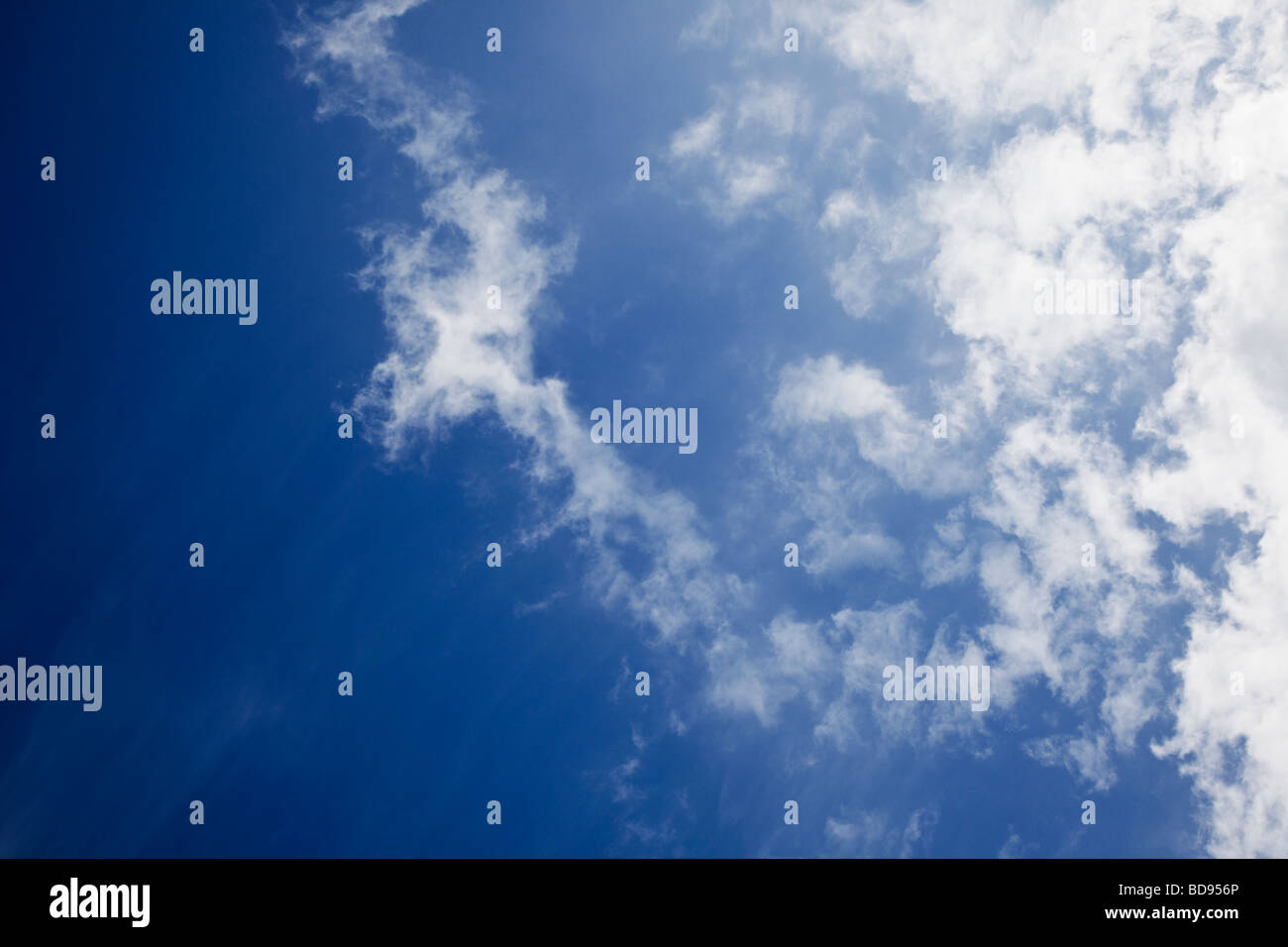 Blue sky with cirrus clouds looking up - Stock Image