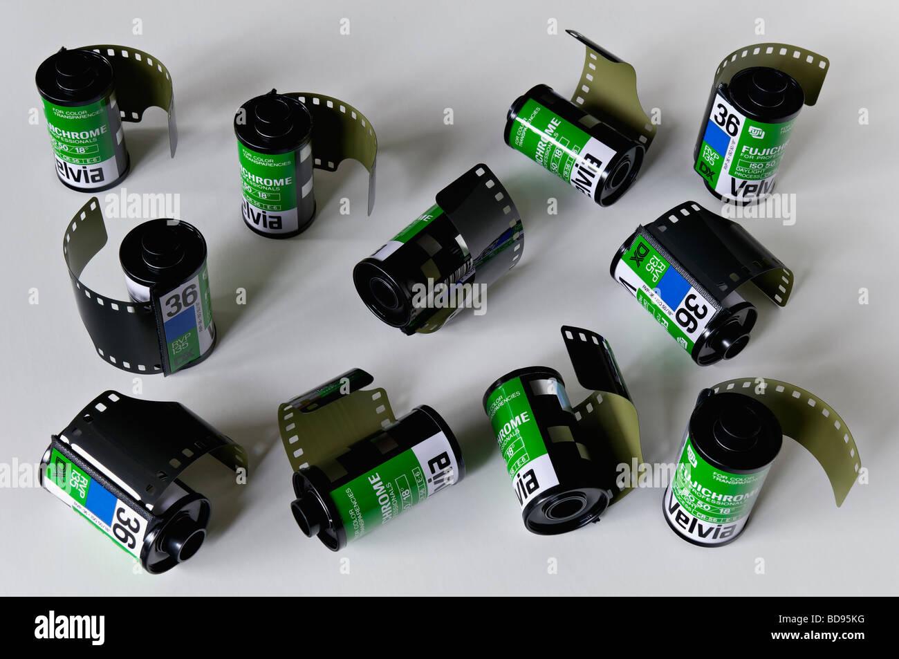 Eleven Rolls of Fujichrome Velvia 50 ISO 35mm Film Stock Photo