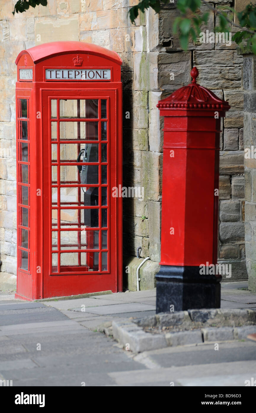Red Telephone box Red Royal Mail post box two Icons of England - Stock Image